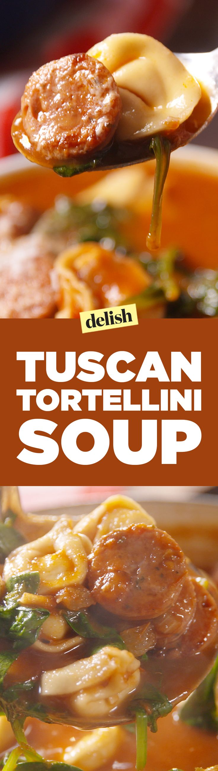 Tuscan Tortellini Soup is the perfect start to soup season. Get the recipe on Delish.com.
