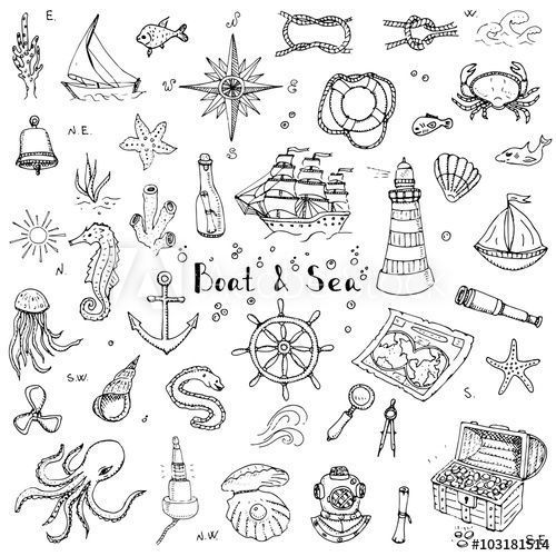 Vector Map Hand drawn doodle Boat and Sea set Vect…