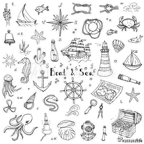 Handgezeichnete Doodle Boot und Meer set Vektor-Illustration Boot Symbole Leben im Meer Konzept
