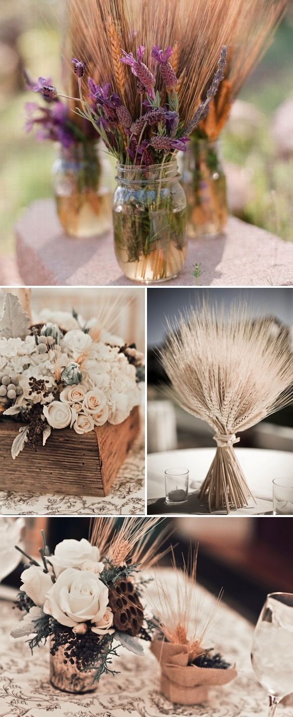 Adding wheat to the centerpieces for height color