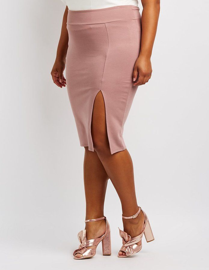 Charlotte Russe Plus Size Bodycon Midi Skirt