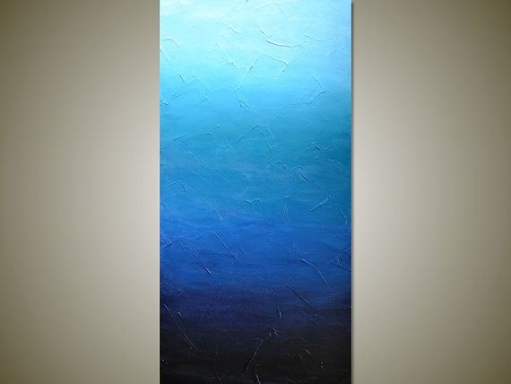 Blue Canvas Art Diy: Large BLUE OMBRE Textured Abstract Painting