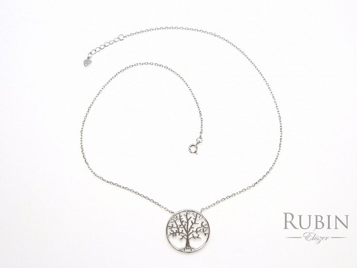 Életfa motívumos ródiumos ezüst nyaklánc