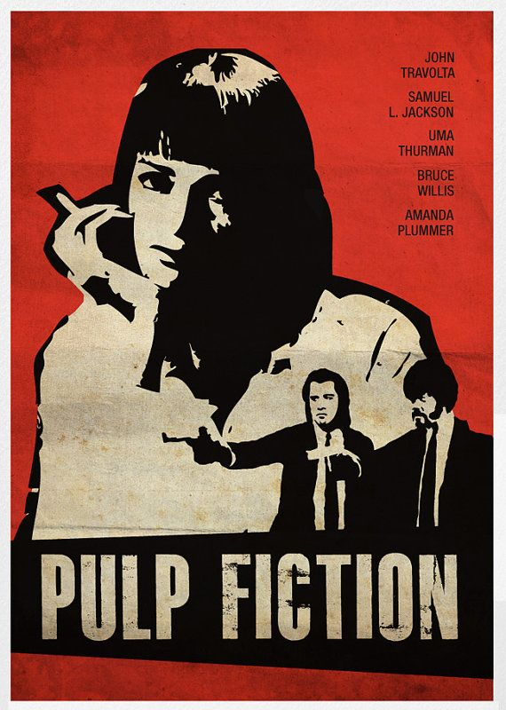 Vintage inspired movie posters of recent movies (Django Unchained, Fight Club, Pulp Fiction)