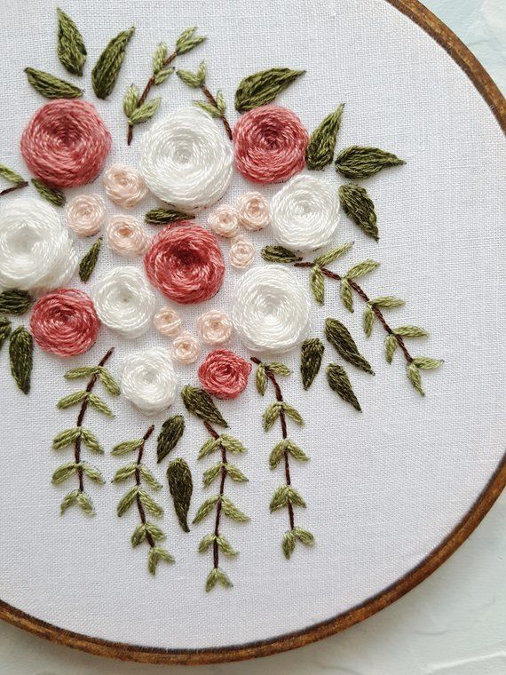 Embroidered Flowers Wedding Bouquet Pink Hand Embroidery Designs