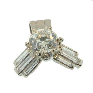 Platinum & Old Cut Round Diamond Deco style pendant, handmade at Cameron Jewellery