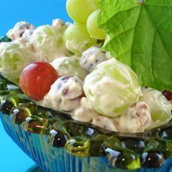 Green Grape Salad Allrecipes.com: Sour Cream, Desserts Salad, Fruit Salad, Salad Recipes, Brown Sugar, Vanilla Extract, Cream Cheese, Green Grapes, Grape Salad
