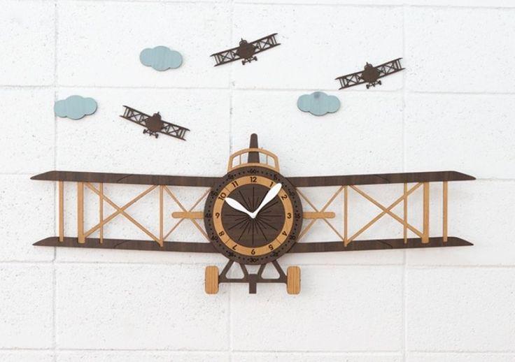 Propeller Clock Kit : Details about d room decoration biplane wall clock diy
