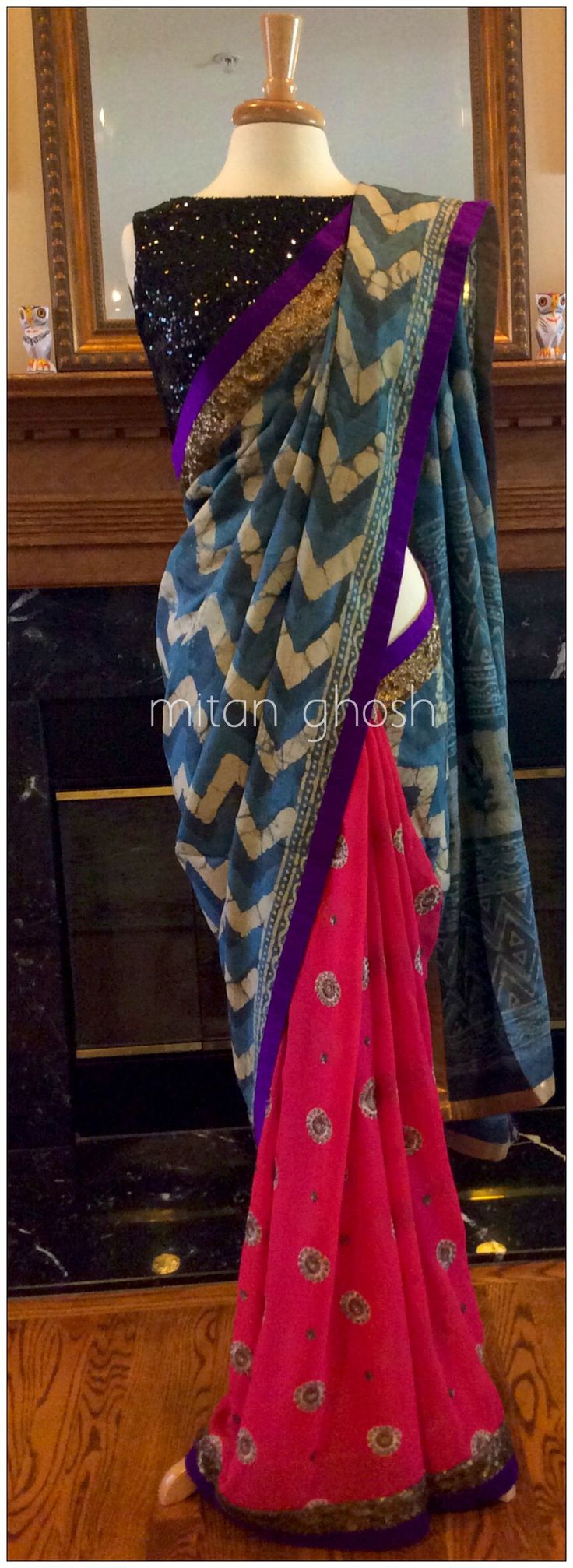 Batik tassar with georgette saree