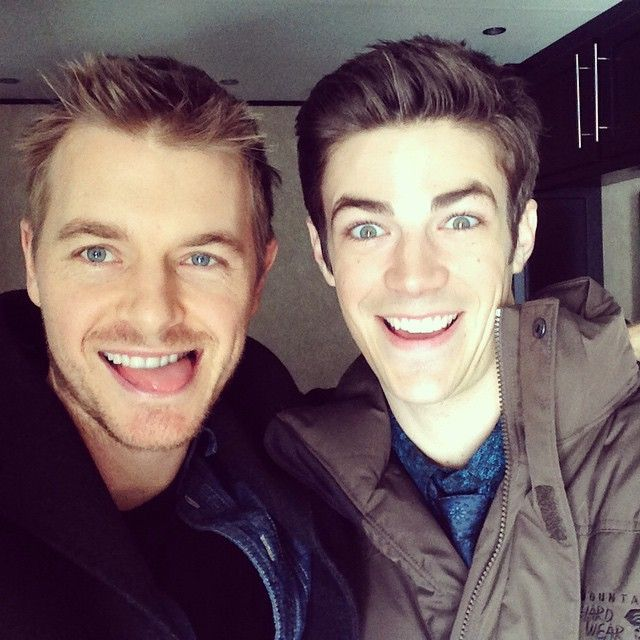 """Eddie and Barry. But is @grantgust surprised or freaked out though. Hey! #FlashVsArrow tonight!"""