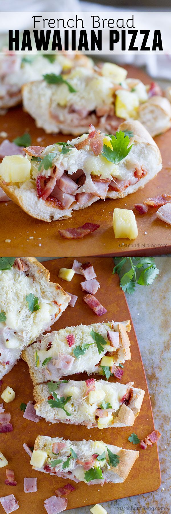 A great use of leftover ham, this French Bread Hawaiian Pizza has ham, bacon, pineapple and lots of cheese, all baked on top of a loaf of French Bread.