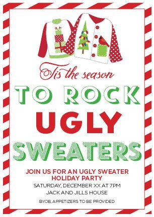 ugly sweater invitation by allisonrainsdesigns on etsy