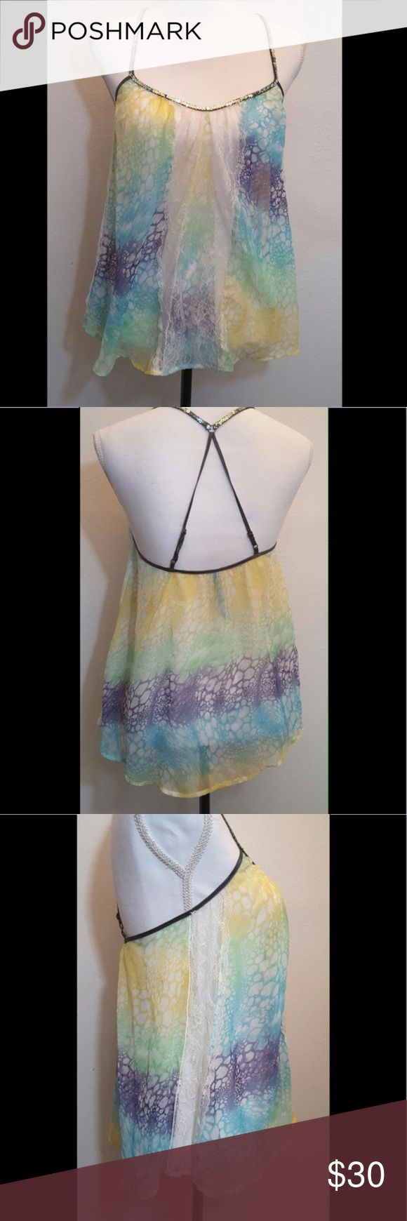 Rainbow Animal Print Tank with Lace Accent Festival ready sheer rainbow animal print tank with lace accent and sequin straps. 100% poly, only worn once, in excellent condition. Free People Tops