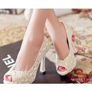 ウエディングシューズ パンプス スリッポン レディース ハイヒール 花嫁 結婚式 二次会 靴 大きいサイズ オープントゥ エンボス