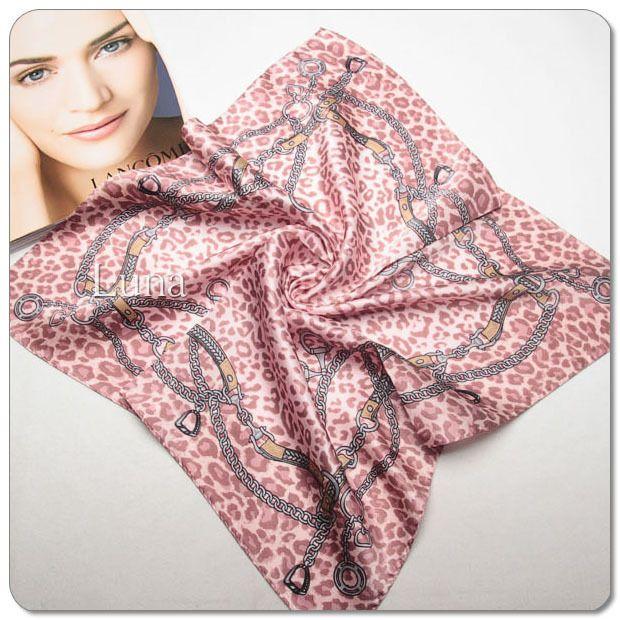 New Luna 100% Silk Crepe Satin  Multi-Color Leopard Style Scarf Size: 20*20inch #LUNA #Scarf