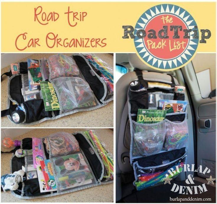 Car organizer bags + ideas for kids car activities