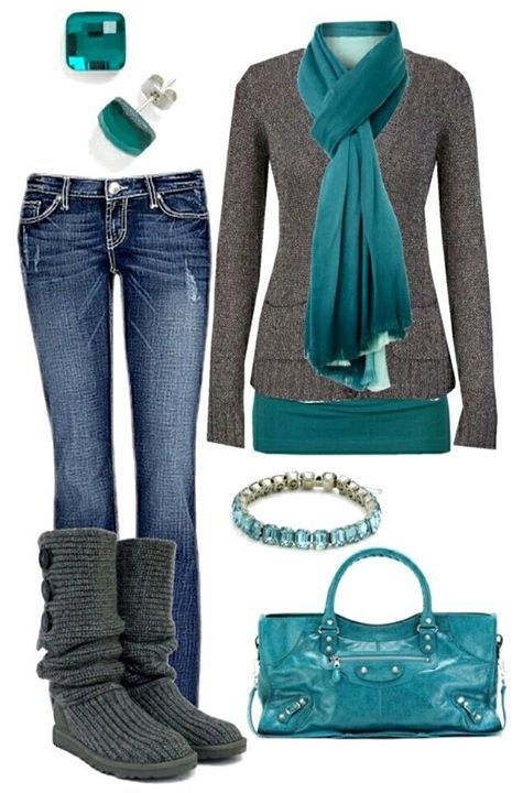 StyleHerPretty with trending Grey Knit Uggs and Teal/Grey outfit!