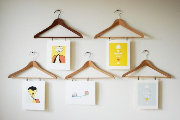 25 Cute DIY Wall Art Ideas for Kids Room - esp. love the wooden hangers, clipboards, chicken wire w/clothes pins and the magnetic wall