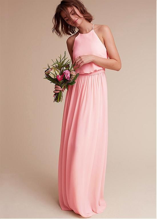 Magbridal Amazing Chiffon Hater Neckline Natural Waistline Floor-length A-line Bridesmaid Dresses