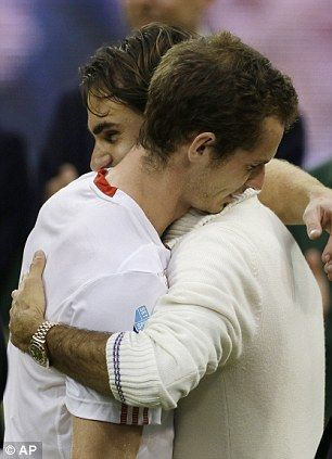 Embrace: Roger Federer and Andy Murray comforted one another 2012