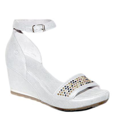 #Sandalo con la zeppa in camoscio ghiaccio laminato con borchiette decorative nella fascetta sulle dita  http://www.tentazioneshop.it/scarpe-khrio/sandalo-zeppa-14030-bianco-khrio.html