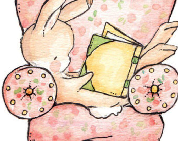 Arte de los niños. La silla de lectura rosa. IMPRESIÓN 8 X 10. Vivero arte Home Decor