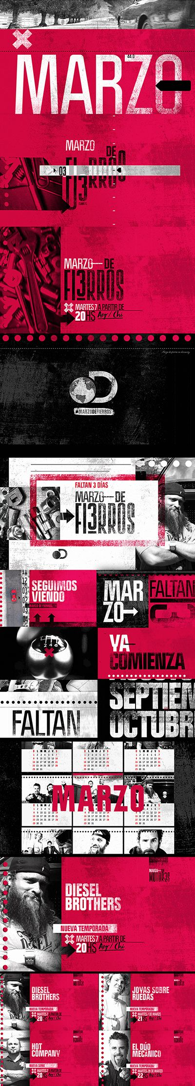 Marzo de fierros: this is a special package for Marzo de Fierros for discovery channel argentina. Portfolio Diego Troiano. Currently working in Discovery Latin Channels.  Script: Mariano Bonini. Edit & Music: Mauro Bragato.  Design & animation: Diego Martín Troiano. All work is owned by Discovery Latin American Channels.