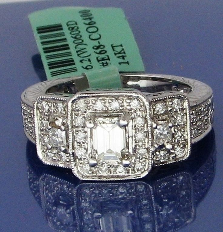1.26 carats Emerald cut Genuine natural Diamond Engagement ring 14k solid Gold #ruzdiamond #SolitairewithAccents