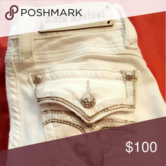 "Rock Revival ""Lillian"" Skinny Jeans Flashy white skinny jeans in good condition Rock Revival Jeans Skinny"