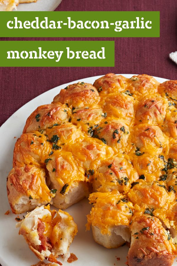 Cheddar-Bacon-Garlic Monkey Bread – Pull apart a piece of this cheesy appetizer at your next special occasion. You and your family can also enjoy this tasty recipe alongside your dinnertime dishes.