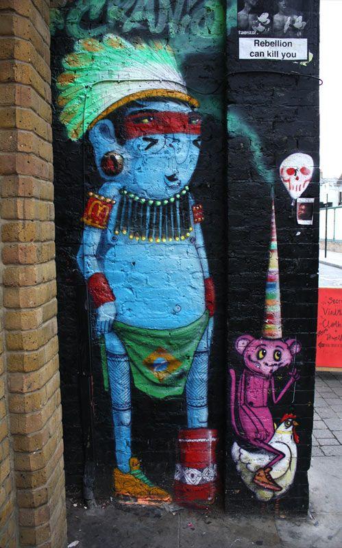Cranio street art in Brick Lane, London #cranio #bricklanestreetart #london…