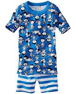 Peanuts Short John Pajamas In Organic Cotton
