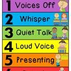 Cute illustrated and color-coded noise level chart to help keep your classroom noise level in check that lets children always know which voice to u...