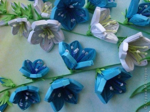 Картина, панно Квиллинг: Колокольчики мои, цветики степные... Бумажные полосы День матери, День рождения, День учителя. Фото 4