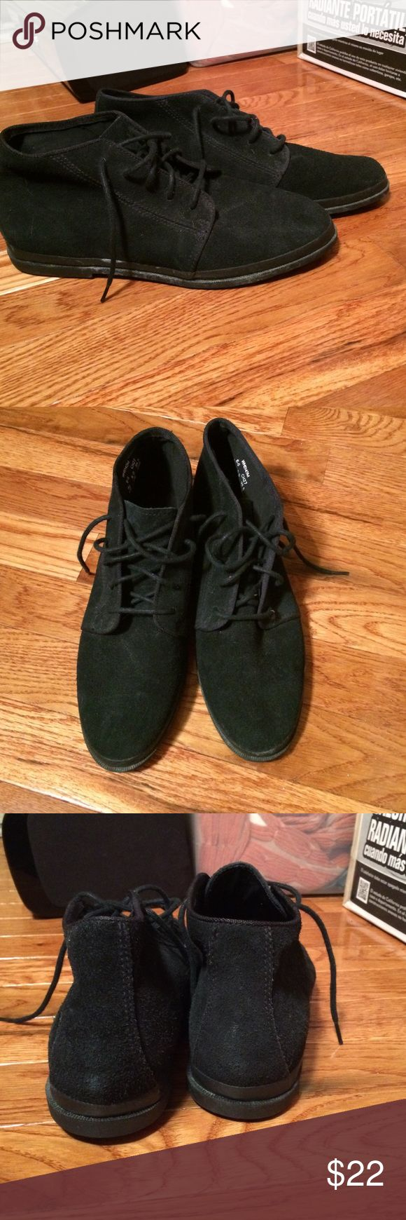 Vintage Black Keds Plain back, lace up. Size 8.5. Suede or suede like. Some minor wear from storage. Keds Shoes Ankle Boots & Booties