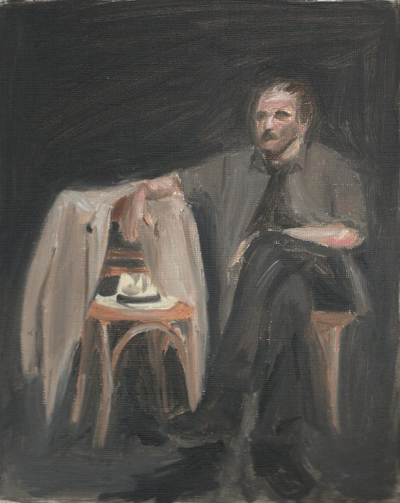Man sitting - Original oil painting on canvas paper