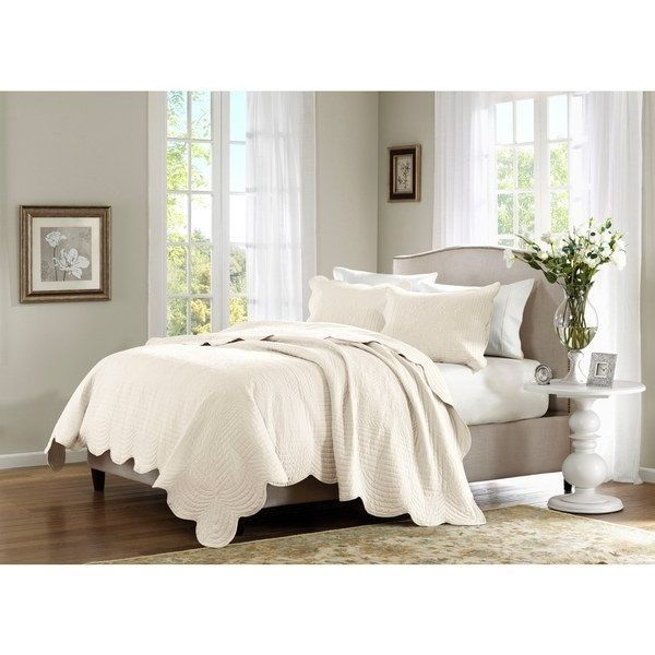 Queen Full Quilted 3 Piece Coverlet Set Shams Bedding Coverlets Ivory #Contemporary