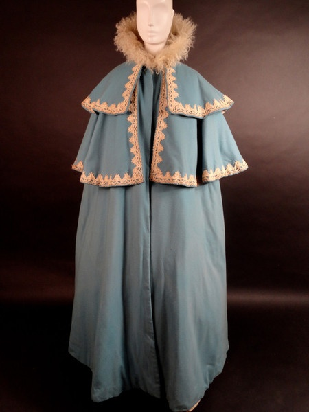 1890s Cloak In A Powder Blue Wool Felt The Cloak Is Dart