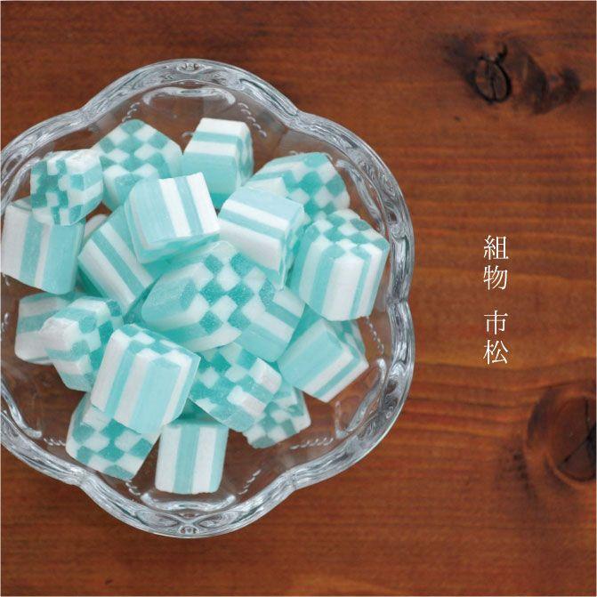 伝統模様「市松」に形どった組飴。すっきりハッカ味。