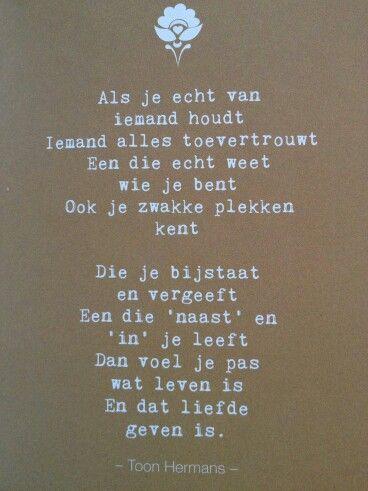 Liefde is geven - gedicht van Toon Hermans