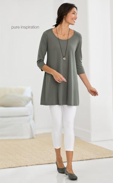 Pure jill ballet-sleeve tunic, capri leggings, pure jill ballet flats  pure jill petal  stone pendant necklace | www.jjill.com