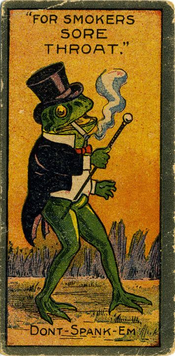 """Frog in Your Throat"" medicine card, c. 1900 (via)"