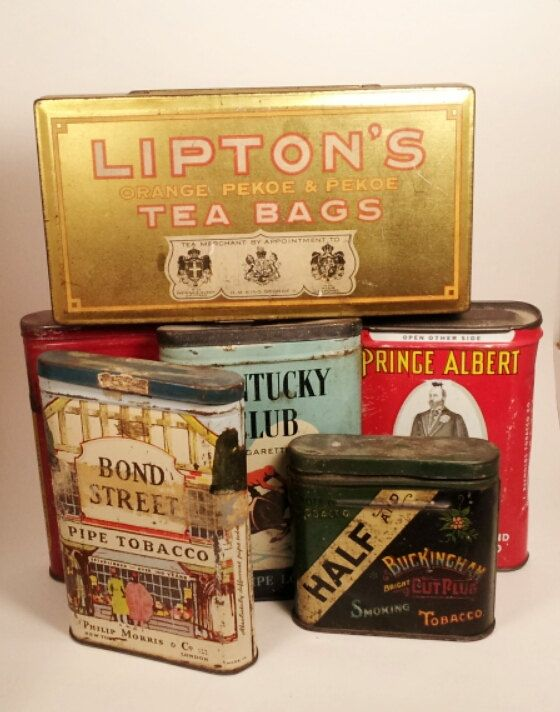 SALE - 20% OFF Antique Vintage Tobacco and Tea Tins - From 1930's to 1950's Shabby Chic Decor