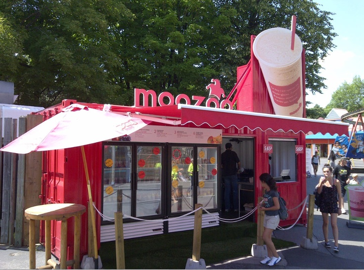 We converted an old shipping container into a smoothie kiosk at La Ronde Six Flags Amusement Park in Montreal.