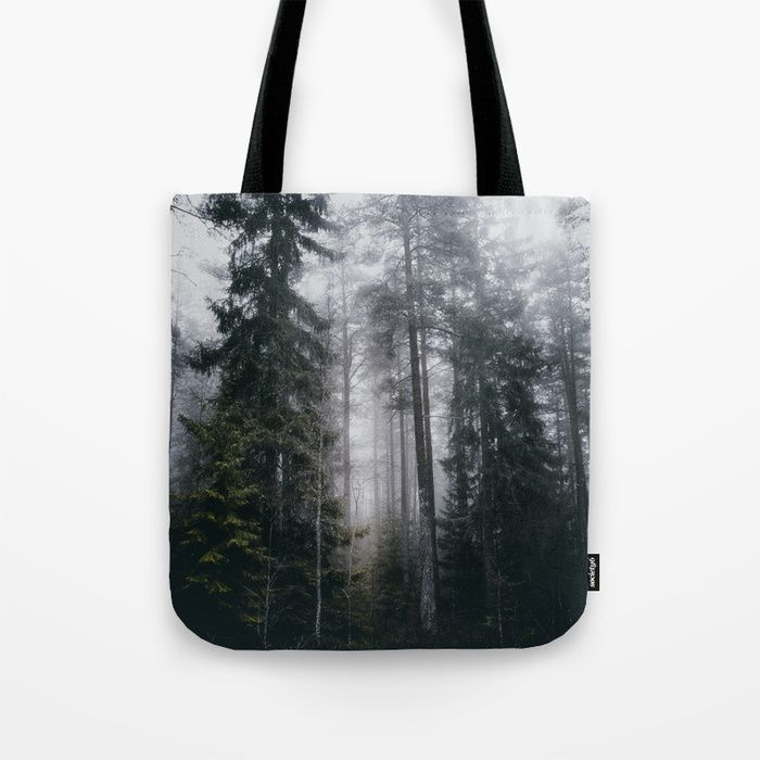 Into the forest we go Tote Bag by HappyMelvin. #nature #forest #wanderlust #mystic #fog #totebags #bags