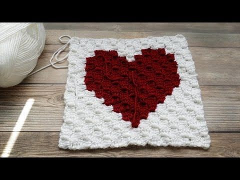 How to Crochet a C2C (corner to corner) Heart Square Graph  (Video 1) - YouTube
