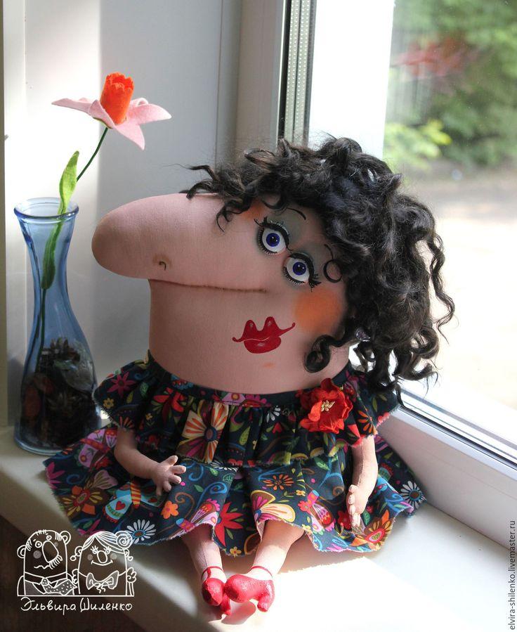 Купить Дама из Амстердама - ярко-красный, текстильная кукла, грунтованный текстиль, шарж, юмор