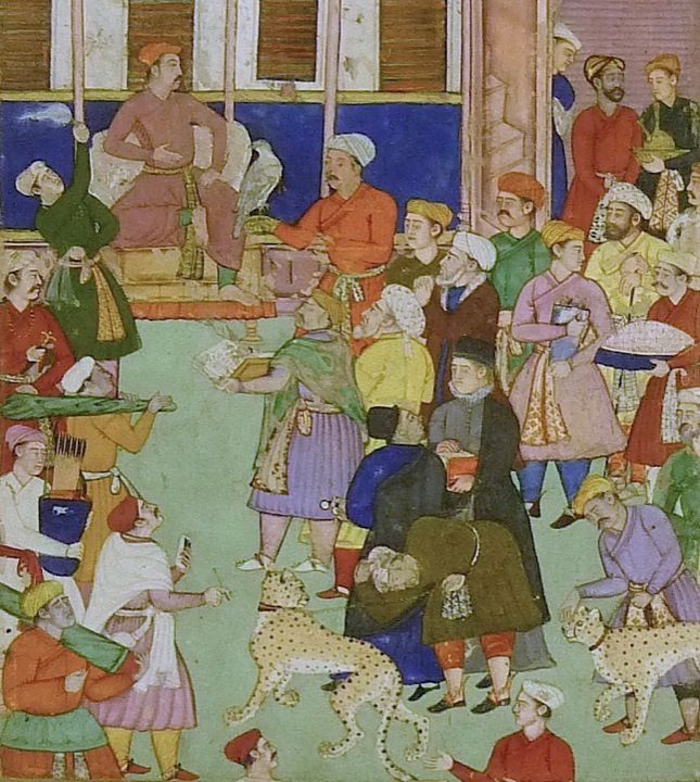 'Easter Celebrations at the Mughal Court'. Image: Two Jesuit priests dressed in distinctive high blocked black caps and dark robes stand among a crowd bringing gifts to a Mughal prince, possibly Salim. Mughal, 1590–1600. From the Mughal India blog post