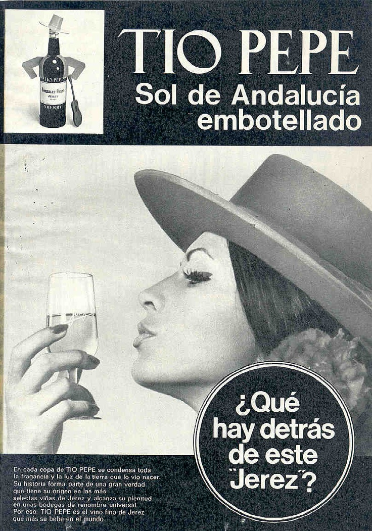 "1973: ""Qué hay detrás..."". Mujer besando la copa. / 1973: ""What´s behind this...."" Woman kissing a Sherry glass."