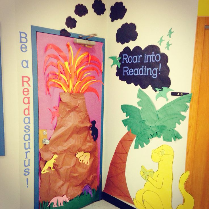 Dinosaur themed door for classroom